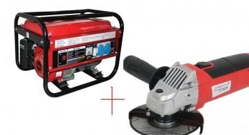 Синхронен генератор за ток четиритактов RAIDER - RD-GG02 - 2000 W, 12 V DC, 163 см3, 3600 оборота, 0.32 л./ч., 14 л.+ Ъглошлайф 115mm 550W RD-AG33