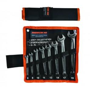 Звездогаечен ключ Premium HD 8бр. /8-19мм/ + Отвертка с накрайници 4 части комплект