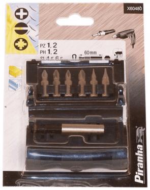 """Накрайници с магнитен държач комплект BLACK&DECKER - X60480 - PH, PZ, SB 6-стен, 1/4"""" / 7ч. Piranha /"""