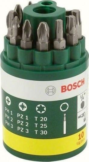 """Накрайници с магнитен държач комплект BOSCH - 2607019454 - 6-стен, PH, PZ, T, 1/4"""" / 10 бр. /"""