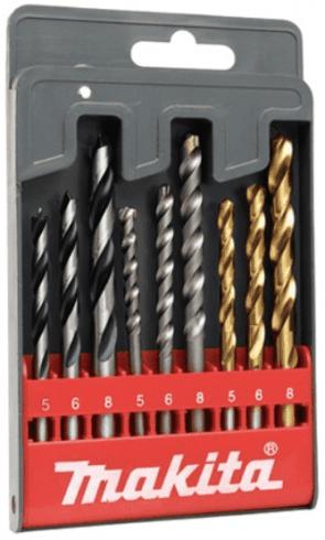Свредла за дърво, метал и камък MAKITA - D-08660 - 5,0-8,0 мм., цилиндрична / 9 бр. /