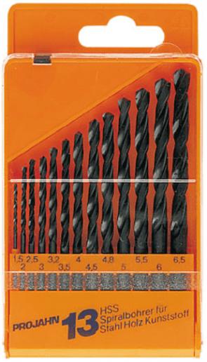 Свредла за метал PROJAHN - 67000 - HSS-R, 1,5-6,5 мм., цилиндрична, Eco / 13 бр. /