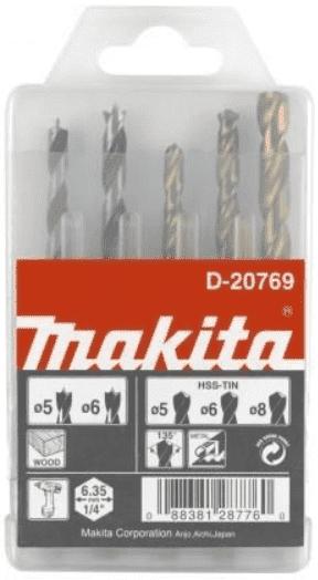 """Свредла за дърво и метал MAKITA - D-20769 - 5,0-8,0 мм., 6-стен, 1/4"""" / 5 бр. /"""