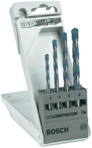 Свредла с твърдосплавни пластини универсални BOSCH - CYL-9 Multi Construction - HM, 4,0-8,0 мм., цилиндрична / 4 бр. /