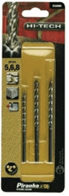 Свредла за бетон и камък BLACK&DECKER - X58080 - HM, 5,0-8,0 мм., цилиндрична / 3 бр. Piranha /