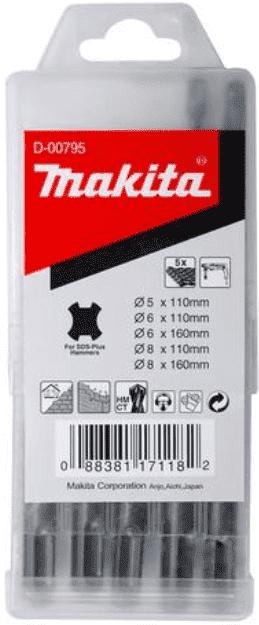 Свредла с твърдосплавни пластини за бетон с допълнителна спирала MAKITA - D-00795 - HM, 5,0-8,0 мм., SDS+ / 5 бр. /