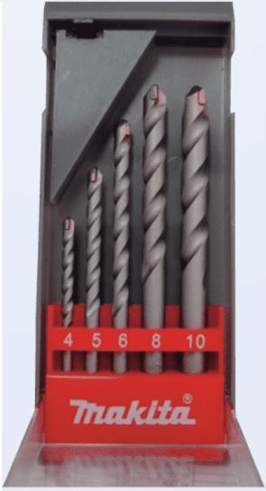 Свредла с твърдосплавни пластини за бетон MAKITA - D-05175 - HSS, 4,0-10 мм., цилиндрична / 5 бр. /