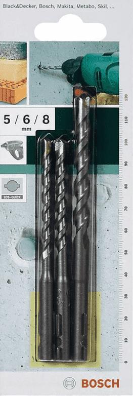 Свредла с твърдосплавни пластини за бетон BOSCH - 2609256908 - HM, 5,0-8,0 мм., SDS-Quick / 3 бр. /