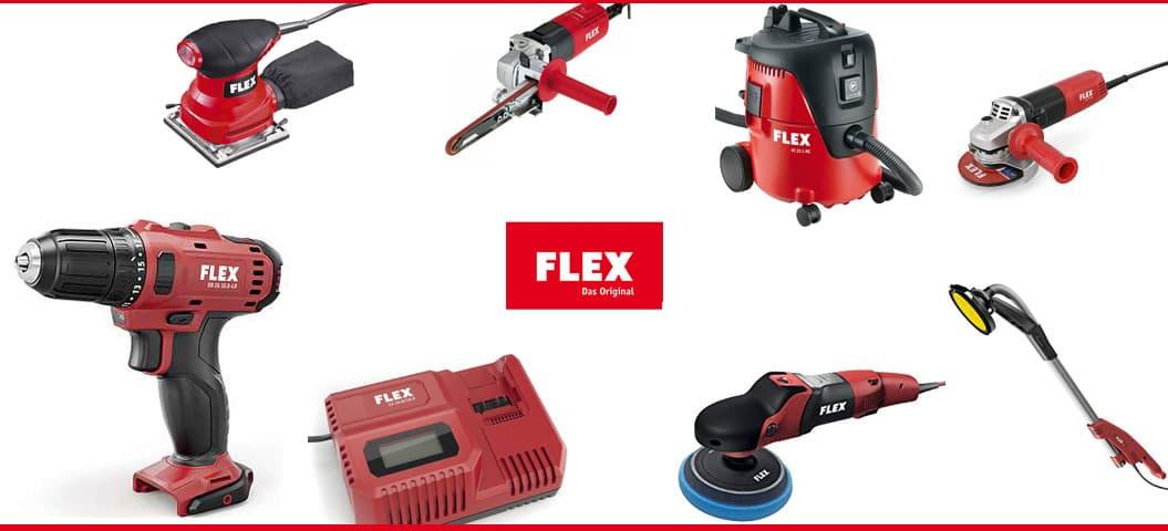 различни инструменти и машини на марката Flex